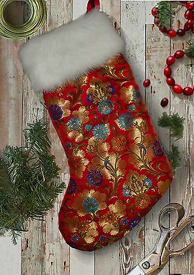 Luxury Floral Embroidered Red Gold Brocade Christmas Stocking with Fur Trim.