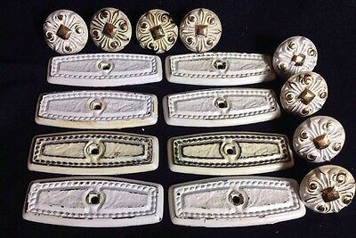 "Vintage AMEROCK Mid-Century WHITE & GOLD Backplate & Knob ""RETRO"" Lot Of 8"
