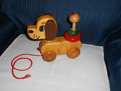 """Vintage Wooden Dog Toy on Wheels 9"""" by Harry Griffith Woodstock Toymaker"""