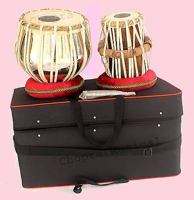 Tabla Drum Pro Model Brass Bayan SPL CASE Nickel Wood Dayan Ring + Hammer +Box