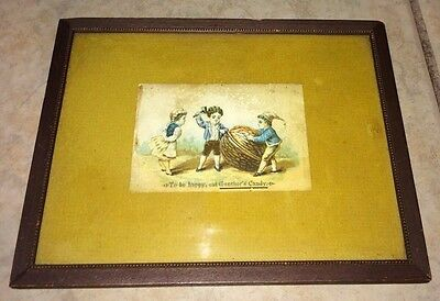 Gunther's Candies Advertising Card, Framed, Little People/Elves Opening a Nut