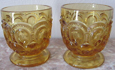 Low Footed Juice Tumblers Glasses - Moon & Star Pattern - Amber Glass