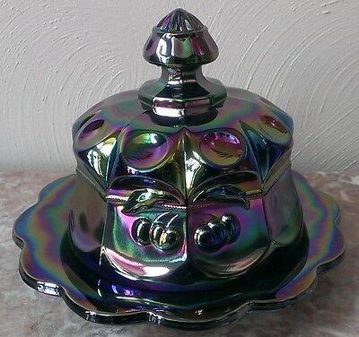 Butter Dish - Cherry & Cable Pattern - Amethyst Carnival Glass - Mosser USA