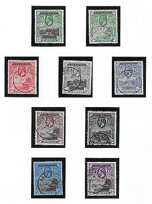 1922 St Helena O/p Ascension Island Kgv Definitives Sg 1-9 Used.