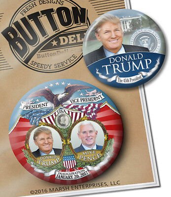 2 VICTORY Inauguration President Donald Trump BUTTONS 2.25 & 3 Pinback Badge pin