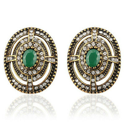 Luxury Vintage Style Antique Gold & Dark Green Stone Oval Stud Earrings E1110