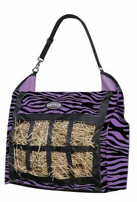 New Showman Purple Zebra Slow Feed Hay Hanging Tote w/Bars Mesh Front