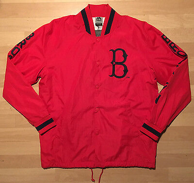 Majestic Athletic Brooklyn Baseball Academy Red Hoodie Letterman Jacket, Size M