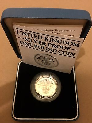 1984 Royal Mint Silver Proof £1 Coin .925 Silver with Box and COA