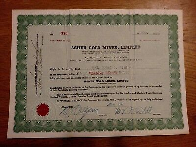 Asher Gold Mines, Limited Stock Certificate 700 shares #36 Canadian