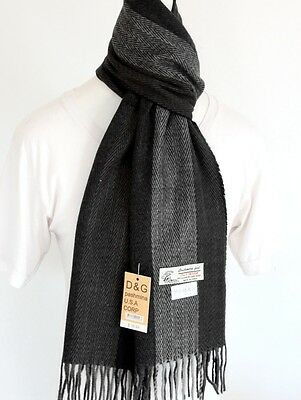 DG Men's Winter Scarf.Warm Striped Black Gray Cashmere-Feel*Soft Women's Unisex