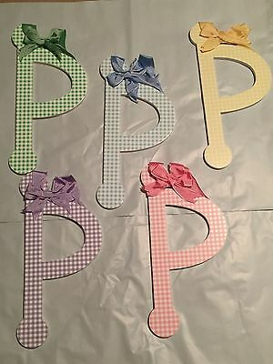 "Lower Case Letter MULTI COLORS Gingham Wood Letters ""p"""