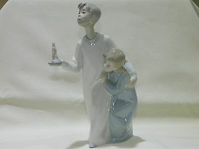 Lladro 4874 Boy And Girl With Candle Porcelain Figurine