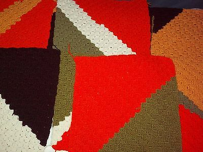 """Lot 22 Vintage HAND WOVEN 12"""" Mixed GRANNY SQUARES  Afghan Throw Baby Blanket"""