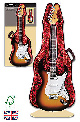 3D Electric Guitar and case greeting card Birthday, anniversary, wedding,