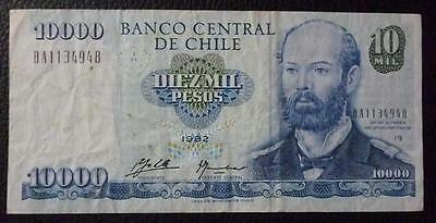 CHILE BANKNOTE 10000 Pesos, Pick 156a  VF+ 1992