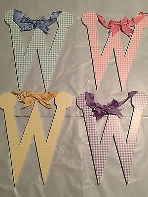 "Lower Case Letter MULTI COLORS Gingham Wood Letters ""w"""