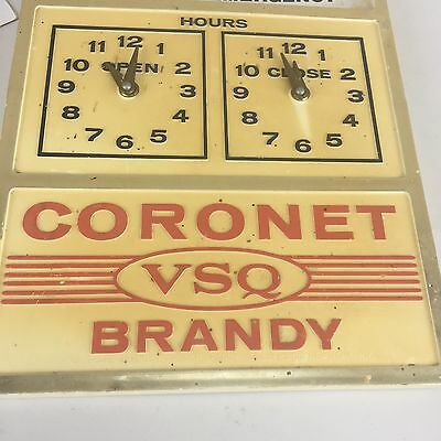 "Vintage Plastic CORONET VSQ BRANDY Open / Closed Advertising Sign 9"" X 6.5"""