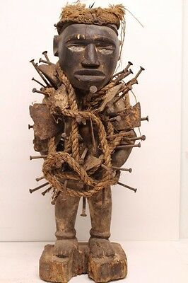 Authentic Nkondi African Tribal Art Nail Figure - Carved Wood & Metal - Congo