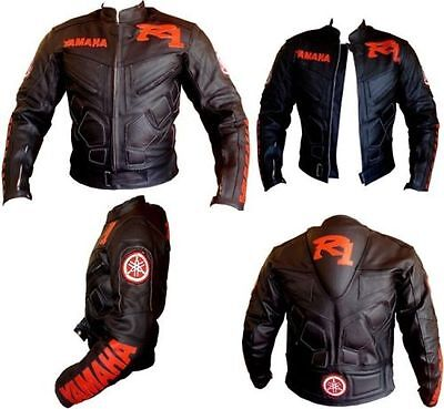 Yamaha R1 Black, Motorcycle Motorbike Racing Biker Real Leather Jacket,CE Armors