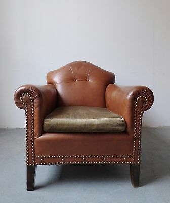 1 Of 2 Vintage Danish Tan Leather Club Lounge Chair With Buttons