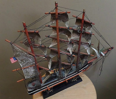 "Vintage ""CONSTITUTION 1814"" Wooden Historical Model 19"" SHIP~STAND~American FLAG"