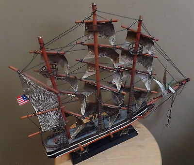 "Vintage Large 19"" WOODEN Historical MODEL SHIP of ""CONSTITUTION 1814"" with STAND"