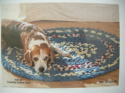 Knit Braided Rug Kit Country Colors Oval KR102 National Yarn Crafts New