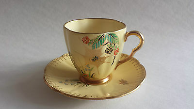 Rare Carlton Ware Spiders Web Lustre ware Yellow cup and saucer