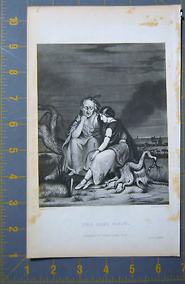 Native American The Last Visit 1844 Antique Engraving  6x10