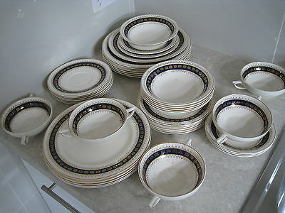 ANTIQUE CROWN DUCAL DINNER SET- 40 PIECES REMAIN OF 8 PIECE DINNER SET (1920's)