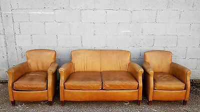 Antique, Rustic, Vintage, French, Leather, Club Suite, Sofa + X2 Chairs