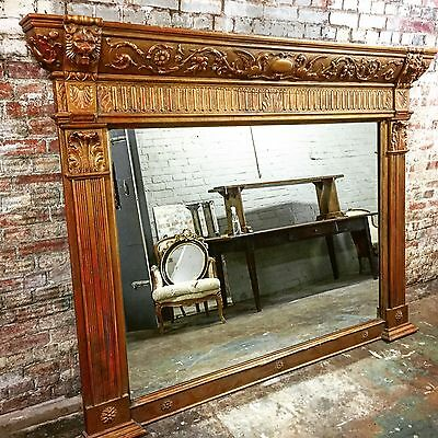 Huge, Carved Wood, Antique, Georgian, Gilt Gold Mantle Mirror