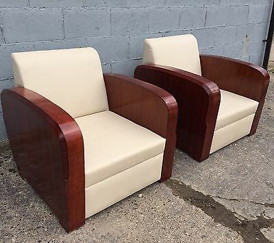 Pair, Art Deco, Rosewood, Contemporary Chairs, Vintage, Mid-century
