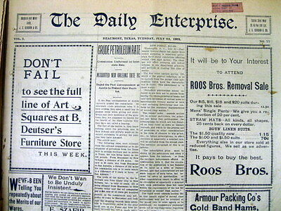 6 1901 newspapers BEAUMONT ENTERPRISE Texas after 1st SPINDLETOP OIL WELL GUSHER