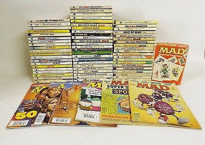 Large Lot Mad Magazine 65 Paperback Books 6 Magazine Issues Plus Card Game