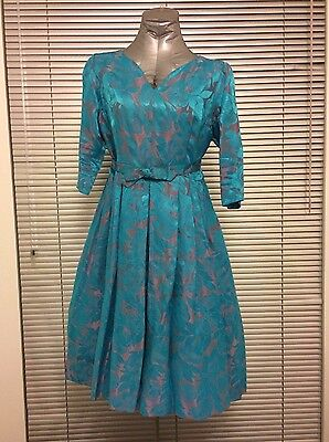 Vintage 50s DRESS full skirt UK16 - turquoise-pink floral satin brocade style ❤️
