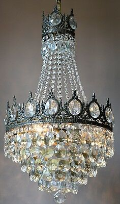 VINTAGE LAMP 1940's ANTIQUE FRENCH GLASS CRYSTAL OLD LUSTRE CHANDELIER LIGHTING