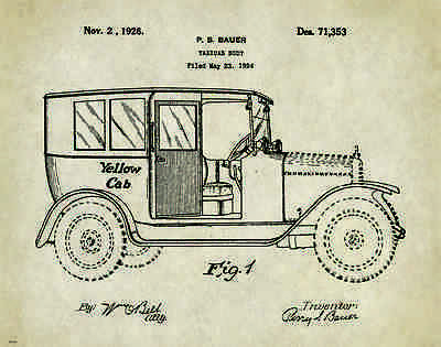 Taxi Cab Patent Patent Poster Art Print Yellow Driver Service Vintage NYC PAT266