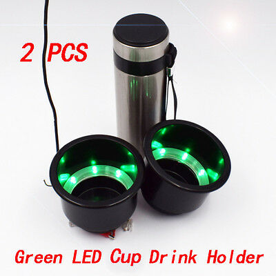 2PCS Green 8LED's Black Plastic Cup Drink Holder Marine Boat & Car New Selling