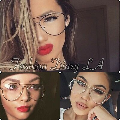 Trendy Clear Lens Aviators Classic Fashion Glasses Metal Oversized Eyeglasses Bn