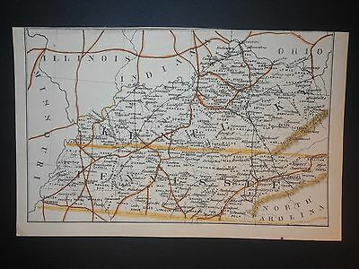 Kentucky Tennessee 1869 Map Cities Railroads Hand Colored