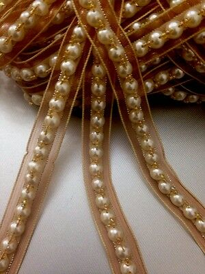 Vintage Style 18mm Ivory/Gold pearls Bead ribbin lace trim multi craft 1Yards