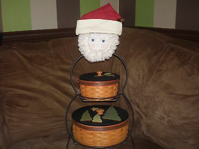 Longaberger Wrought Iron Small Snowman Frosty Frosty, Jr. Baskets Lids Face Hat