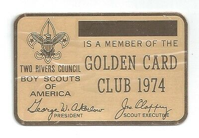 1974 Two Rivers Council Illinois Gold membership card