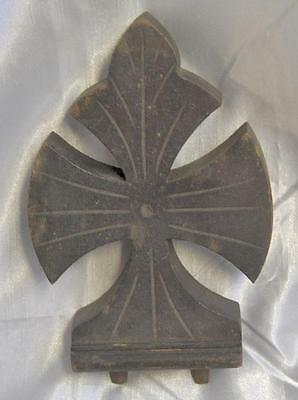 Architecture Antique Victorian  Carved Maltese Cross Wood Finial Final