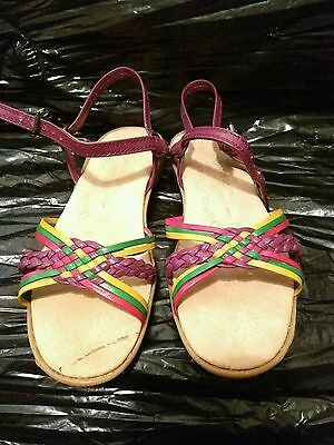 6a1044c5c78c3 Vintage 70s FAMOLARE Dance There Colorful Leather Wavy Wedge Strappy  Sandals Sz5