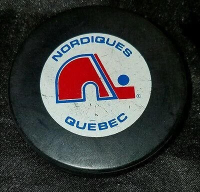 FREE SHIPPING TRENCH VINTAGE 1990S NHL HOCKEY game PUCK  QUEBEC NORDIQUES