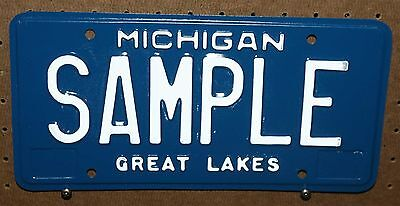 Michigan - Sample - White On Blue - Plain - License Plate