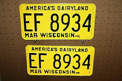 Pair - 1968 - Wisconsin - Ef 8934 - License Plates - With Original Mailer
